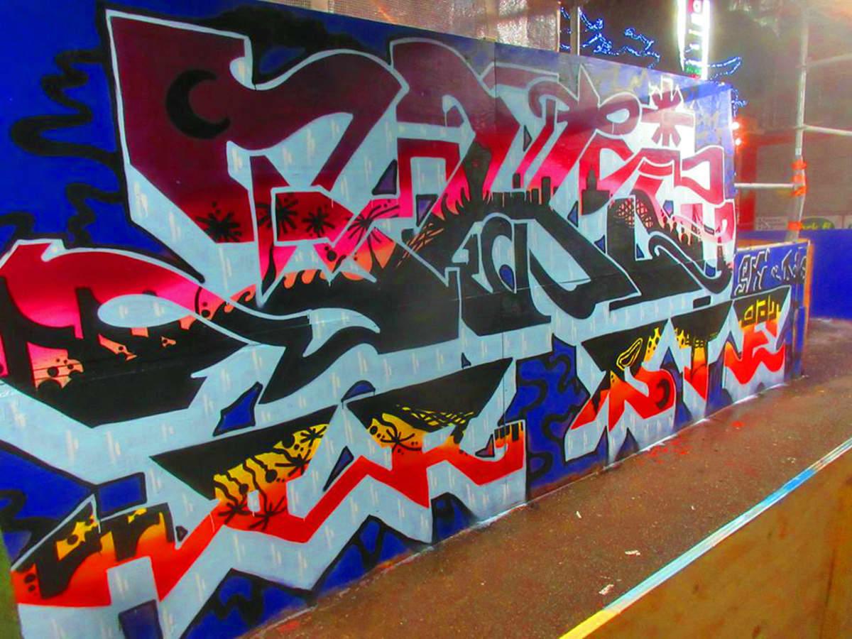 """Jarko Manninen kuvailee graffitiensä tyyliä """"karkuun pötköilevänä""""."""