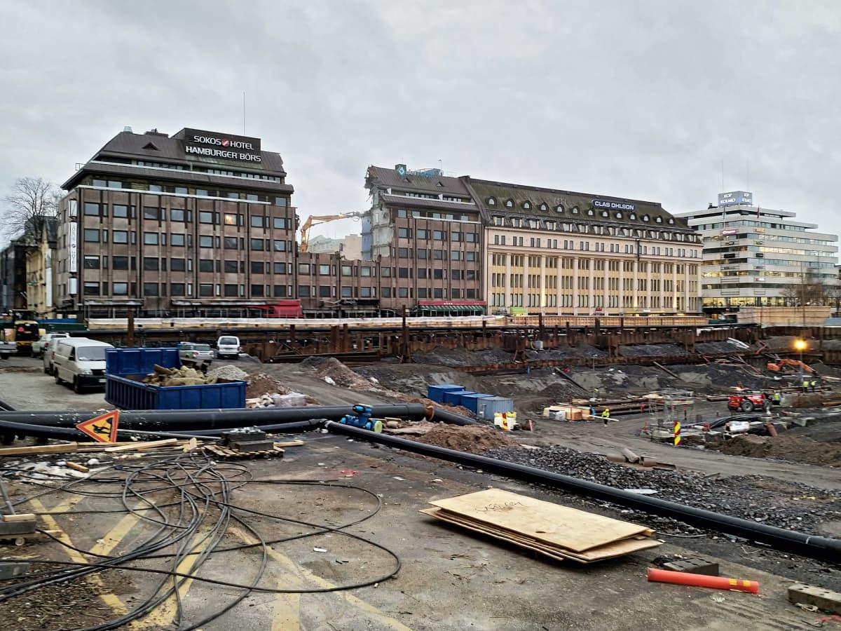 Hamburger Börsin rakennusta puretaan lokakuussa 2019.