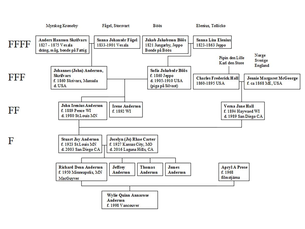 Släktträdet som bevisar att Mccgyver härstammar från Finland.