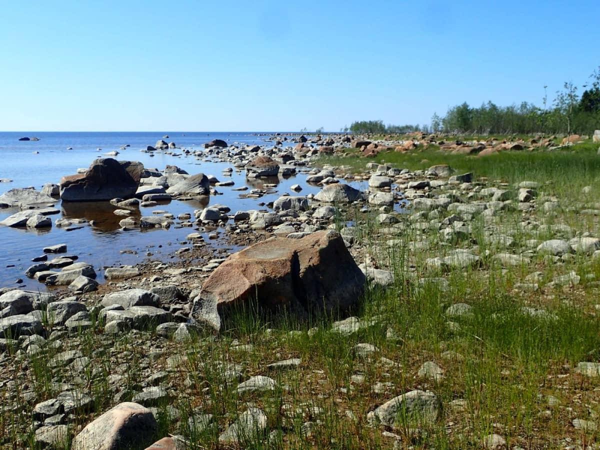Kivikkoon on vaikea rantautua saati pystyttää telttaa.