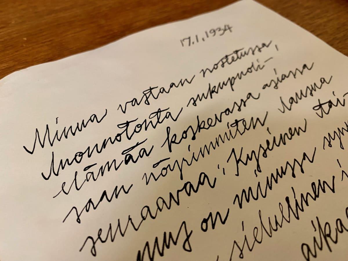 Käsinkirjoitetun kirjeen alku