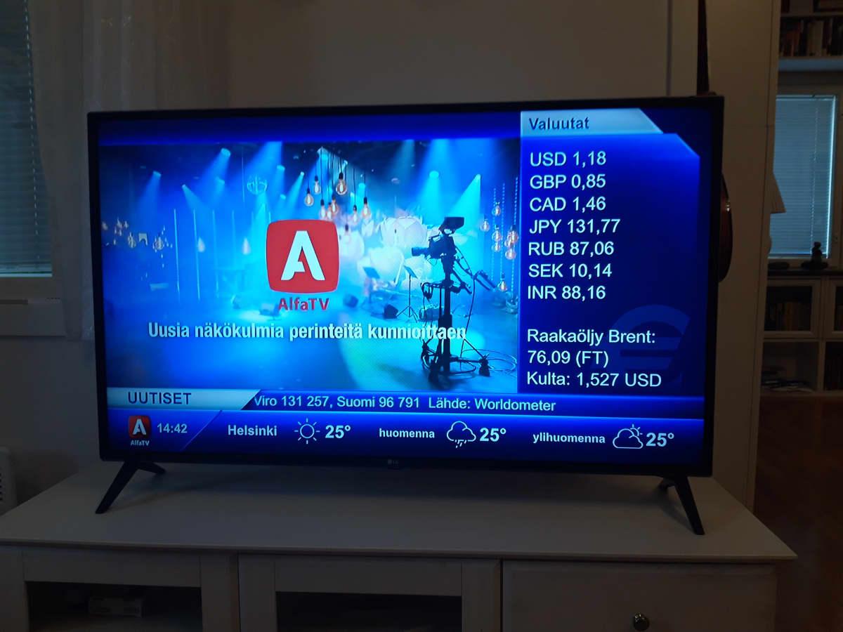 Kuvassa televisio, jossa on valittuna AlfaTV:n kanava