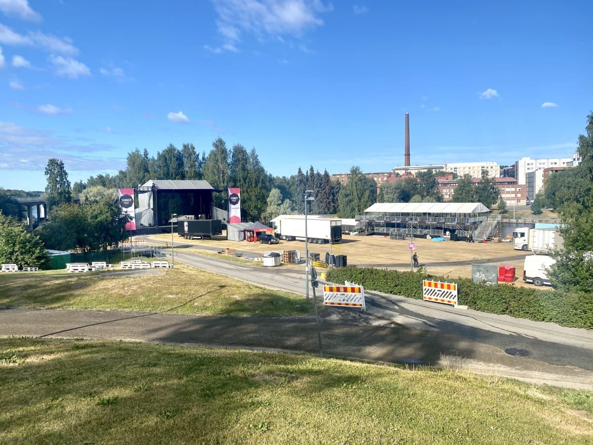 Tammerfestin alue festivaalin edellä keskiviikkona 21.7.2021.
