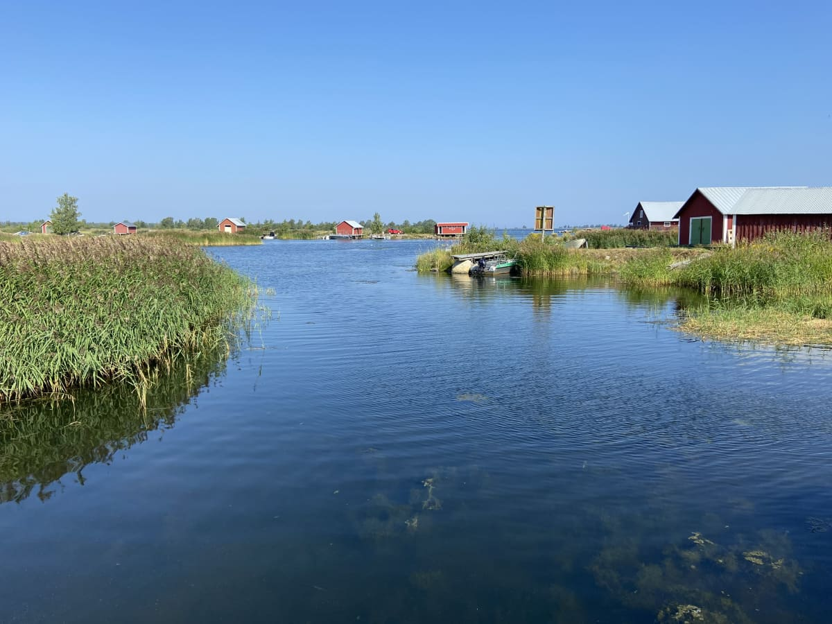 Svedjehamnin satama-aluetta Mustasaaren Björköbyssä. Merta ja punaisia venevajoja.