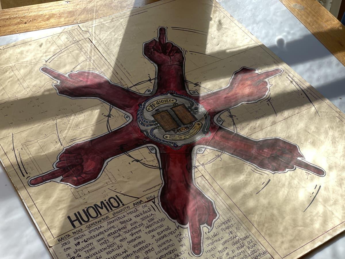 Hamm'n teos, jossa on kuusisakarainen punainen tähti. Sakarat ovat käsiä, joiden keskisormet ovat pystyssä.