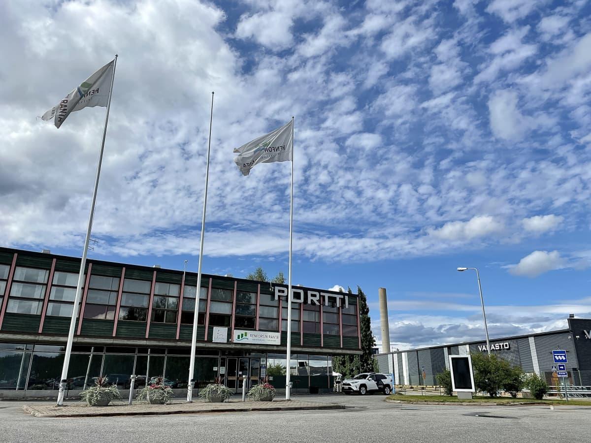 Renforsin rannan yritysalueen portti Kajaanissa.