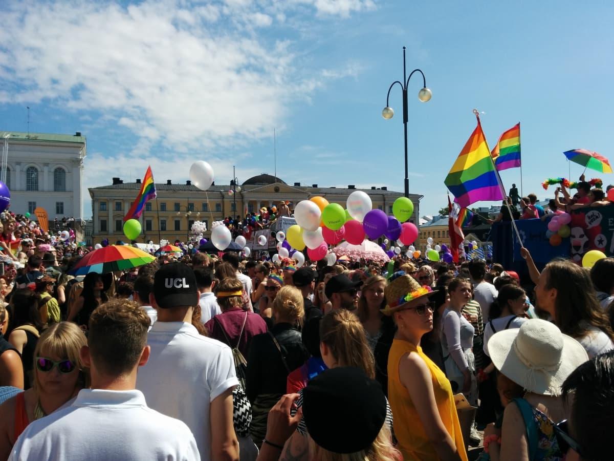 Ihmiset juhlivat Pride-kulkuetta.
