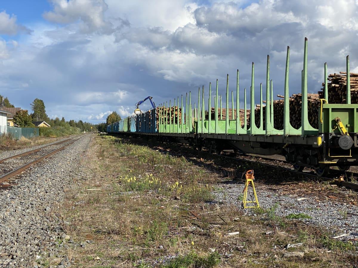 Teuvan asemalla lastataan puutavaravaunuja