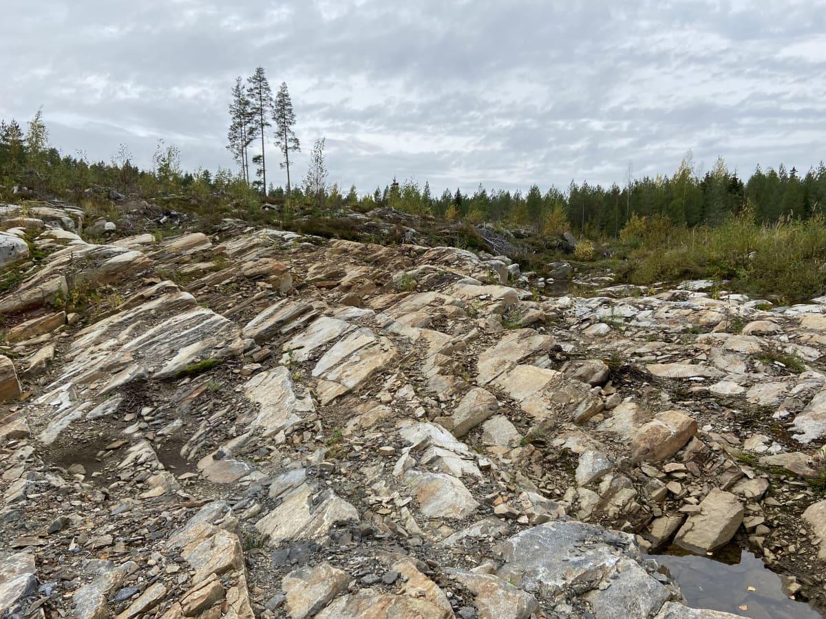 Seinäjokelainen kallio, jossa erikoisia porrasmuodostelmia. Kalliosta löytynyt kultaa.