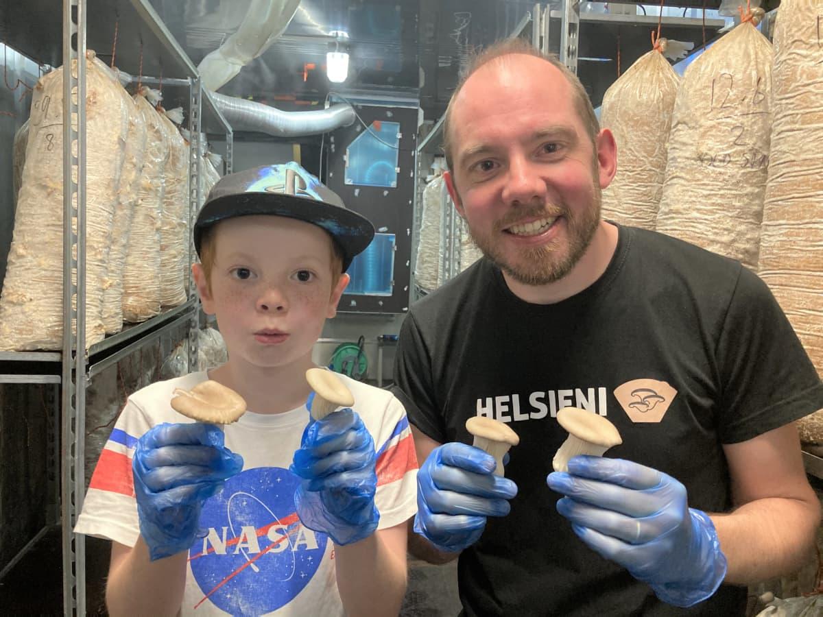 Hubert ja Benoit Mantel Helsienen sieniviljelmällä