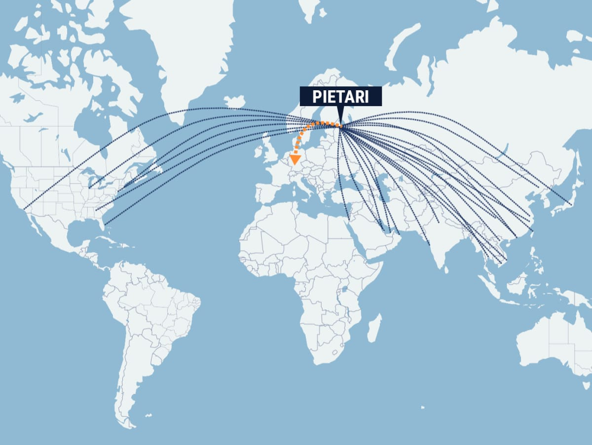 kartta lentokohteista