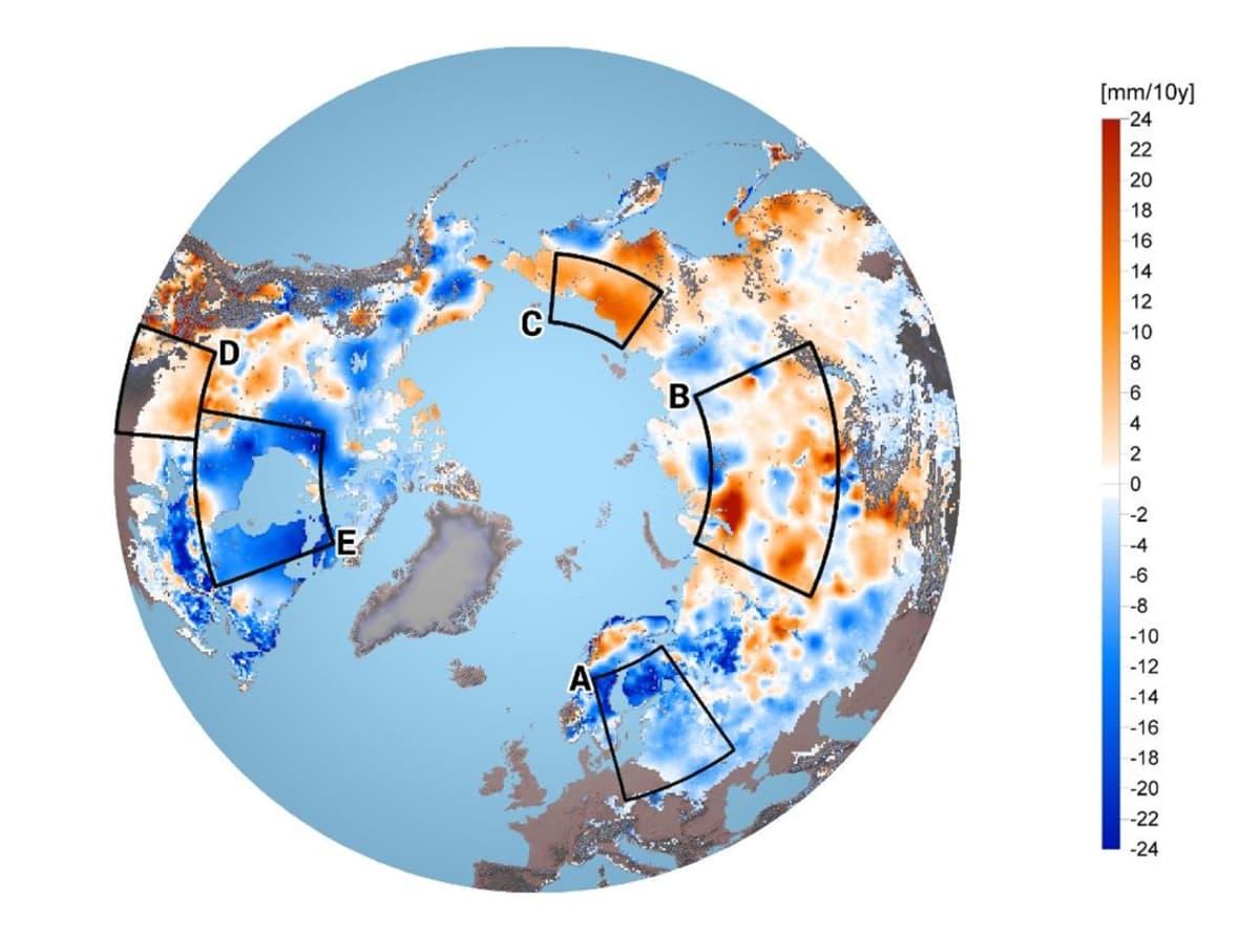 Karttagrafiikka lumitilanteesta