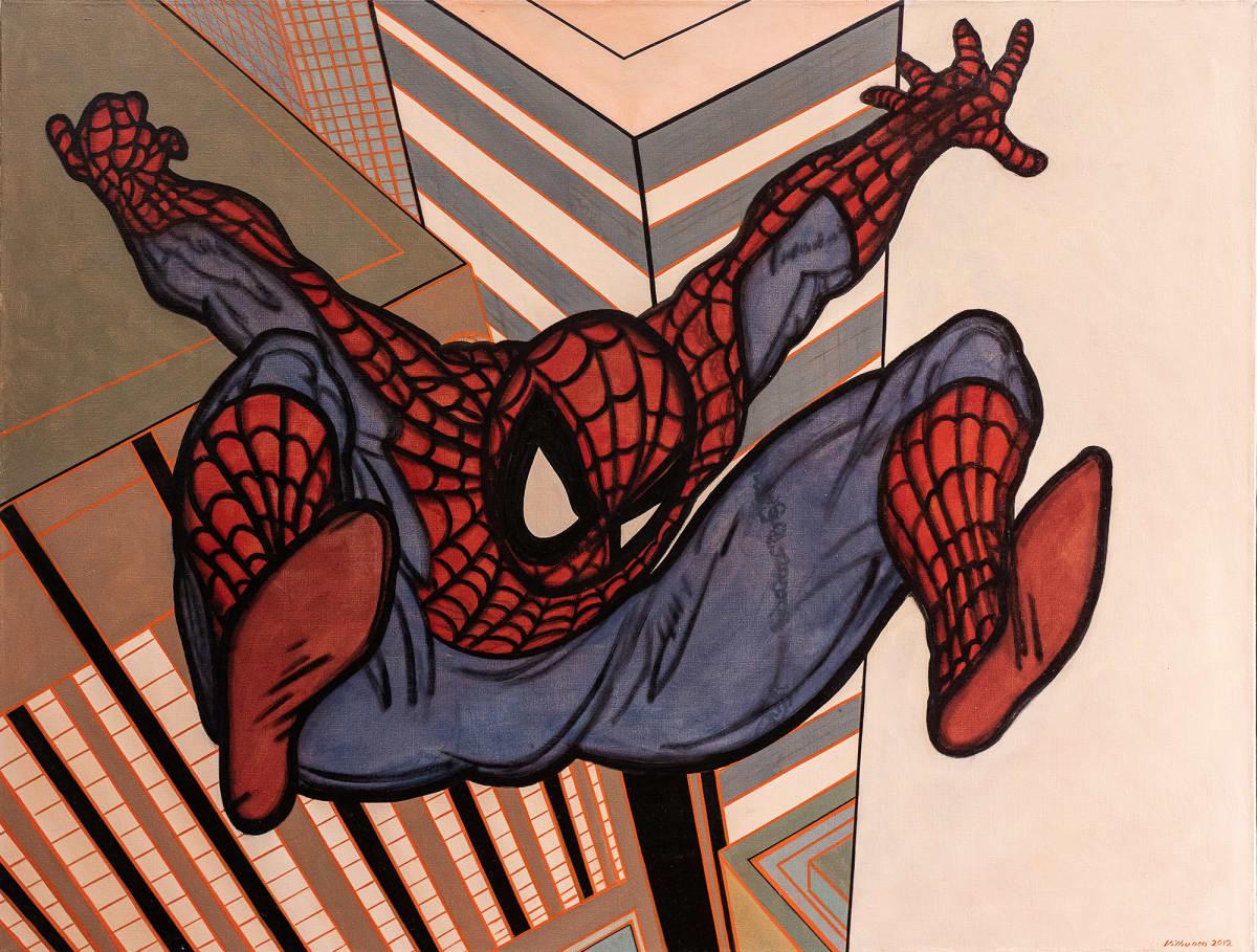 Öljymaalaus hyppäävästä Spidermanista.