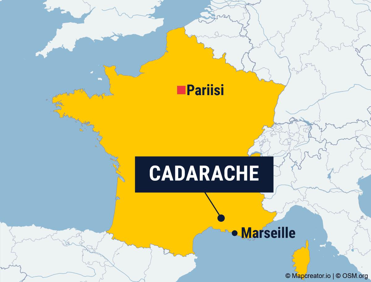 Kartta: Cadarachen sijainti Ranskan Etelä-osassa.