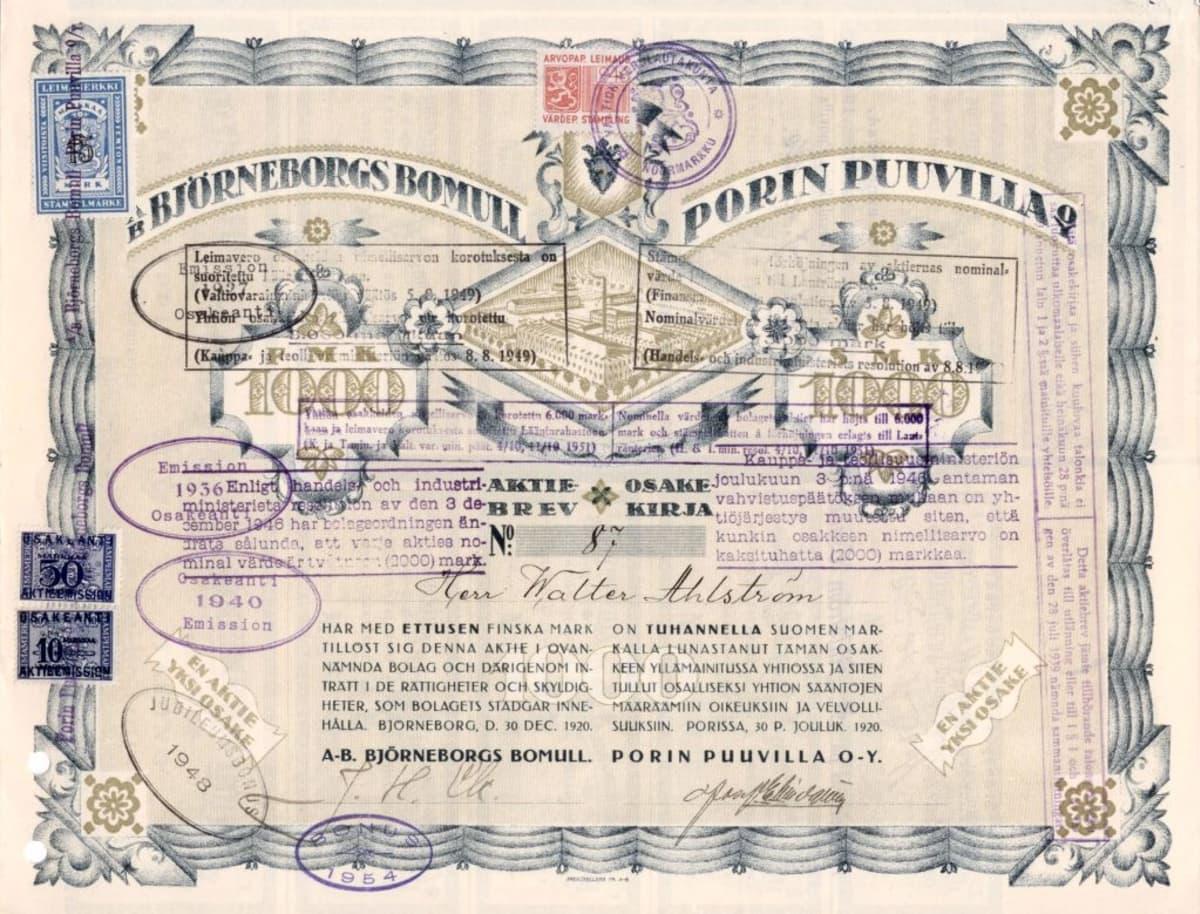 Porin puuvilla Oy:n osakekirja vuodelta 1920