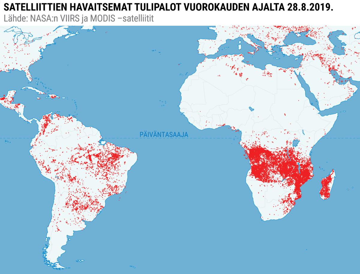Karttagrafiikka tulipaloista Etelä-Amerikassa ja Afrikassa.