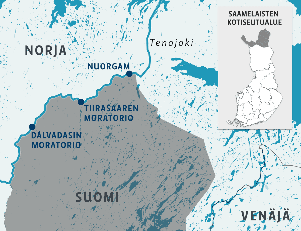 Kartta jossa näkyy Dálvadasin moratorio, Tiirasaaren Moratorio sekä Nuorgam Tenojoen varrelta
