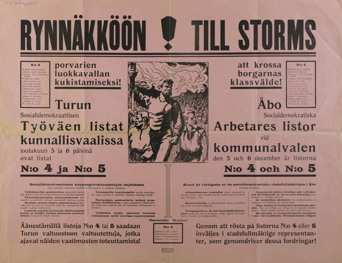 Rynnäkköön! Työväenliikkeen kunnallisvaalijuliste Turusta 1921.