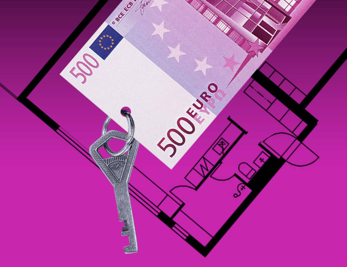 Grafiikka. missä on 500 euron seteli ja siinä kiinni avain.
