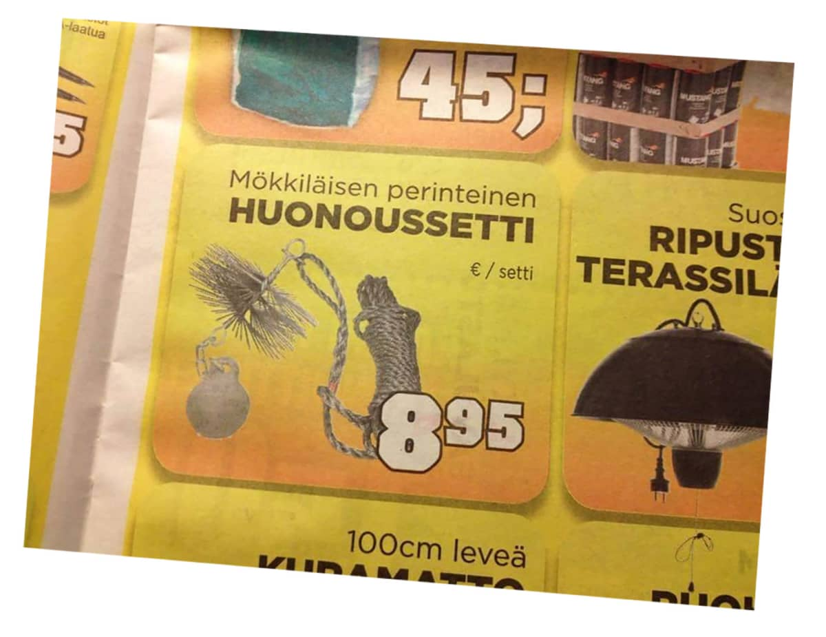 """Lehti-ilmoitus, jossa nuohoussettiä myydään """"huonoussettinä""""."""