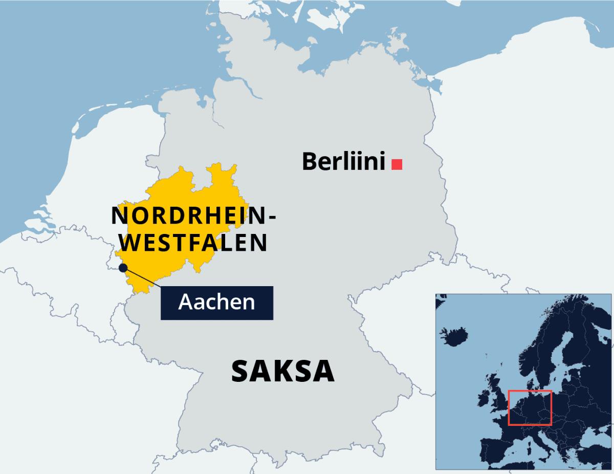 Kartalla Nordhein-Westfalenin osavaltio Saksassa.
