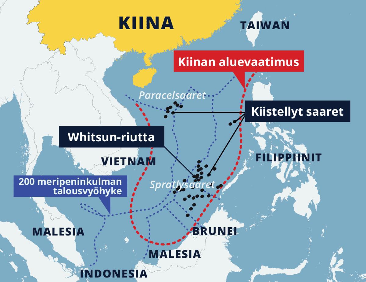 Kartta, johon merkitty Kiinan aluevaatimus ja kiistellyt saaret (mm. Paracel- ja Spratlysaaret).