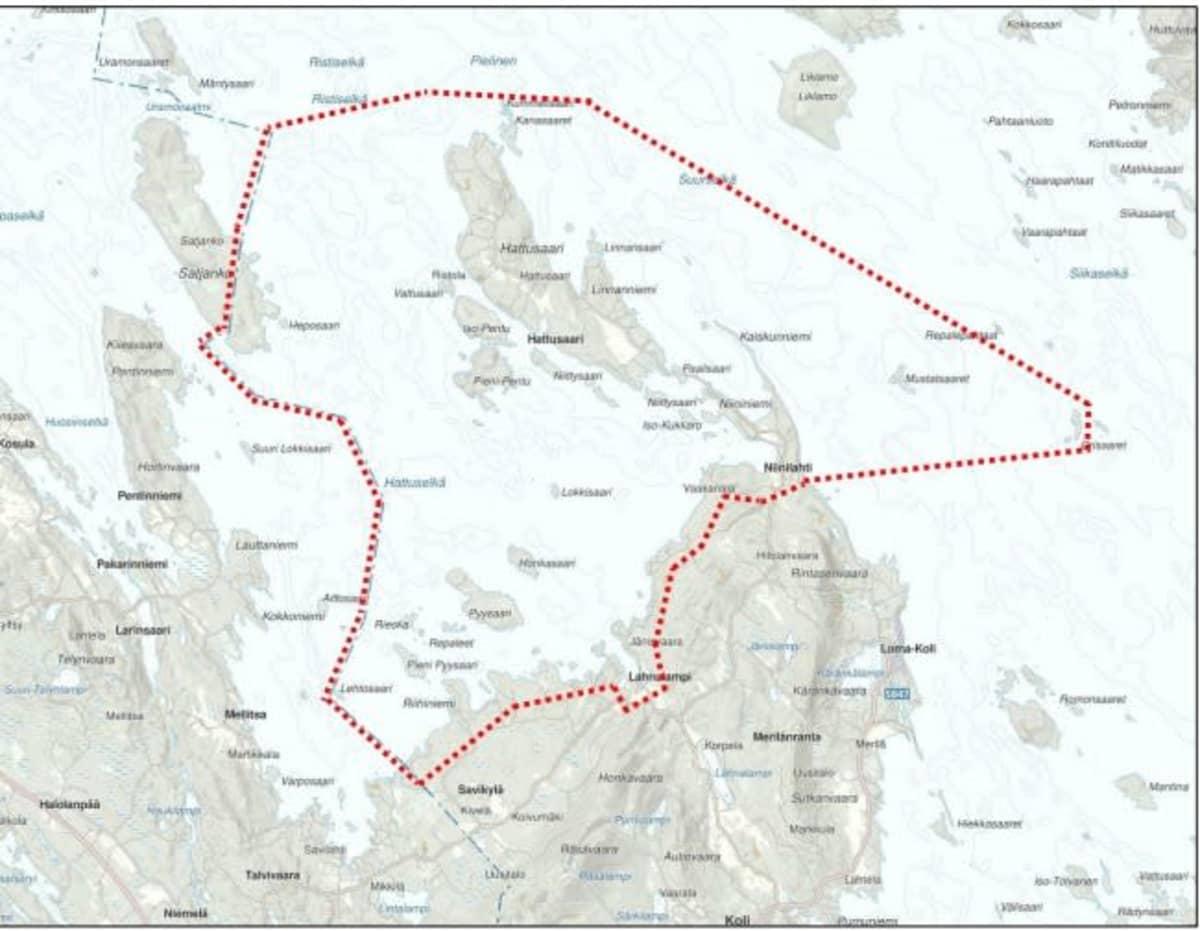 Kartta kaavoitettavasta Hattusaaren alueesta.
