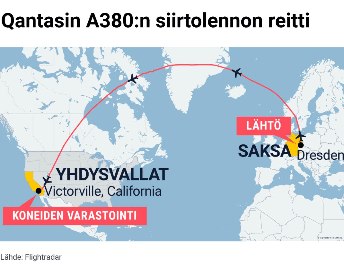 Qantasin A380:n siirtolennon reitti