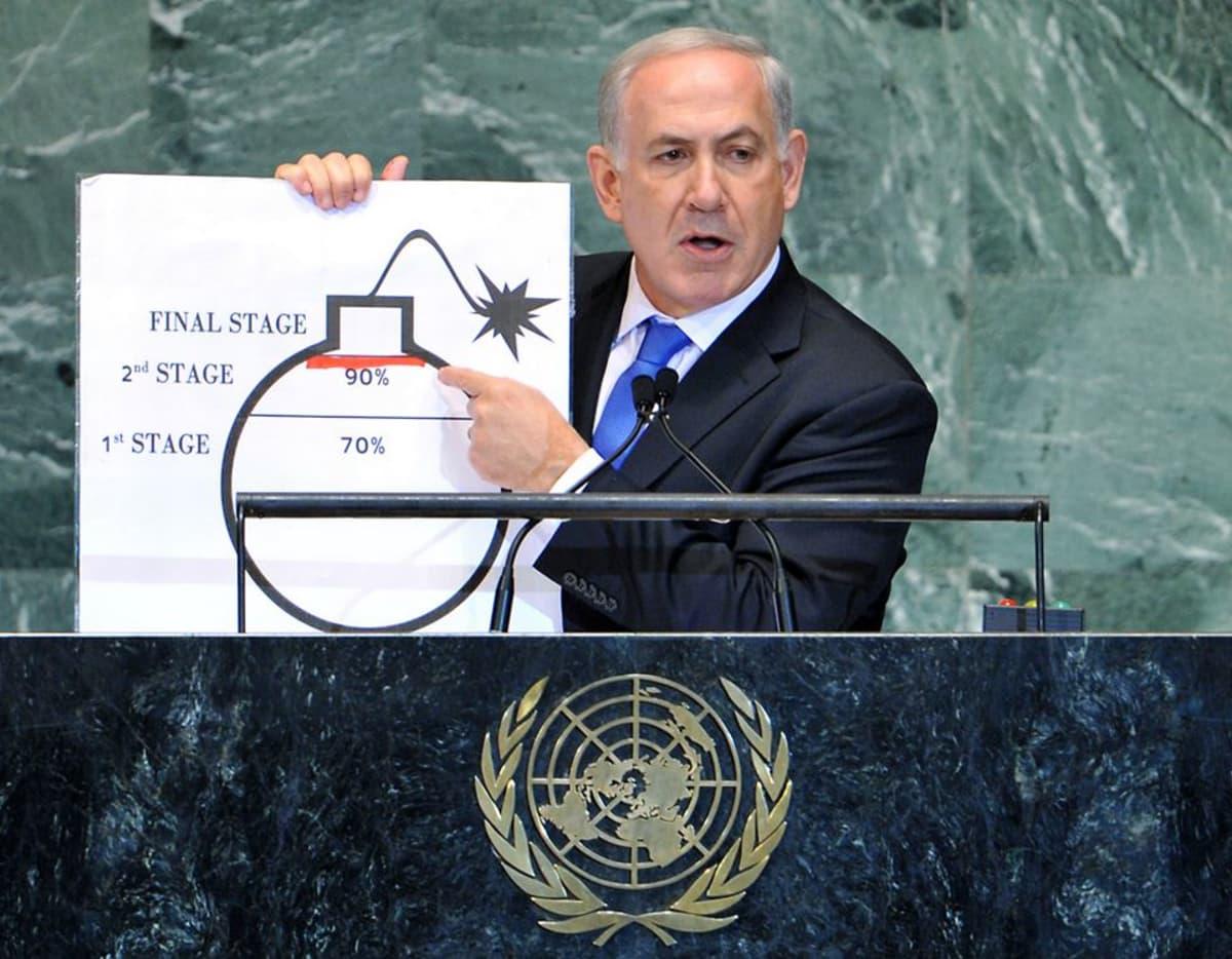 Israelin pääministeri Benjamin Netanjahu puhui YK:n yleiskokouksessa 27. syyskuuta.