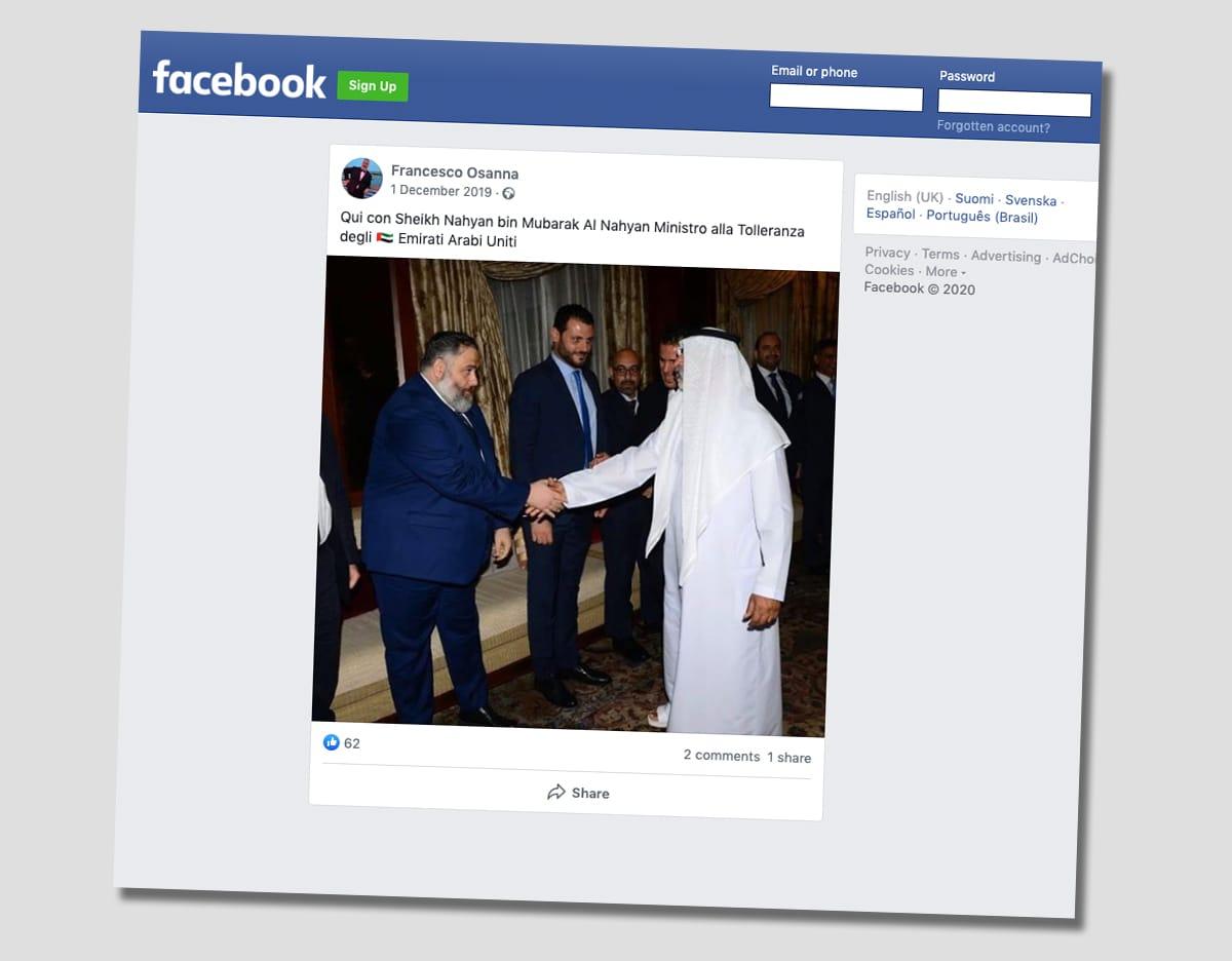 Kuvakaappaus Francesco Osannan Facebook-tilitä. Kuvassa Osanna kättelee Yhdistyneiden arabiemiirikuntien ministeriä.