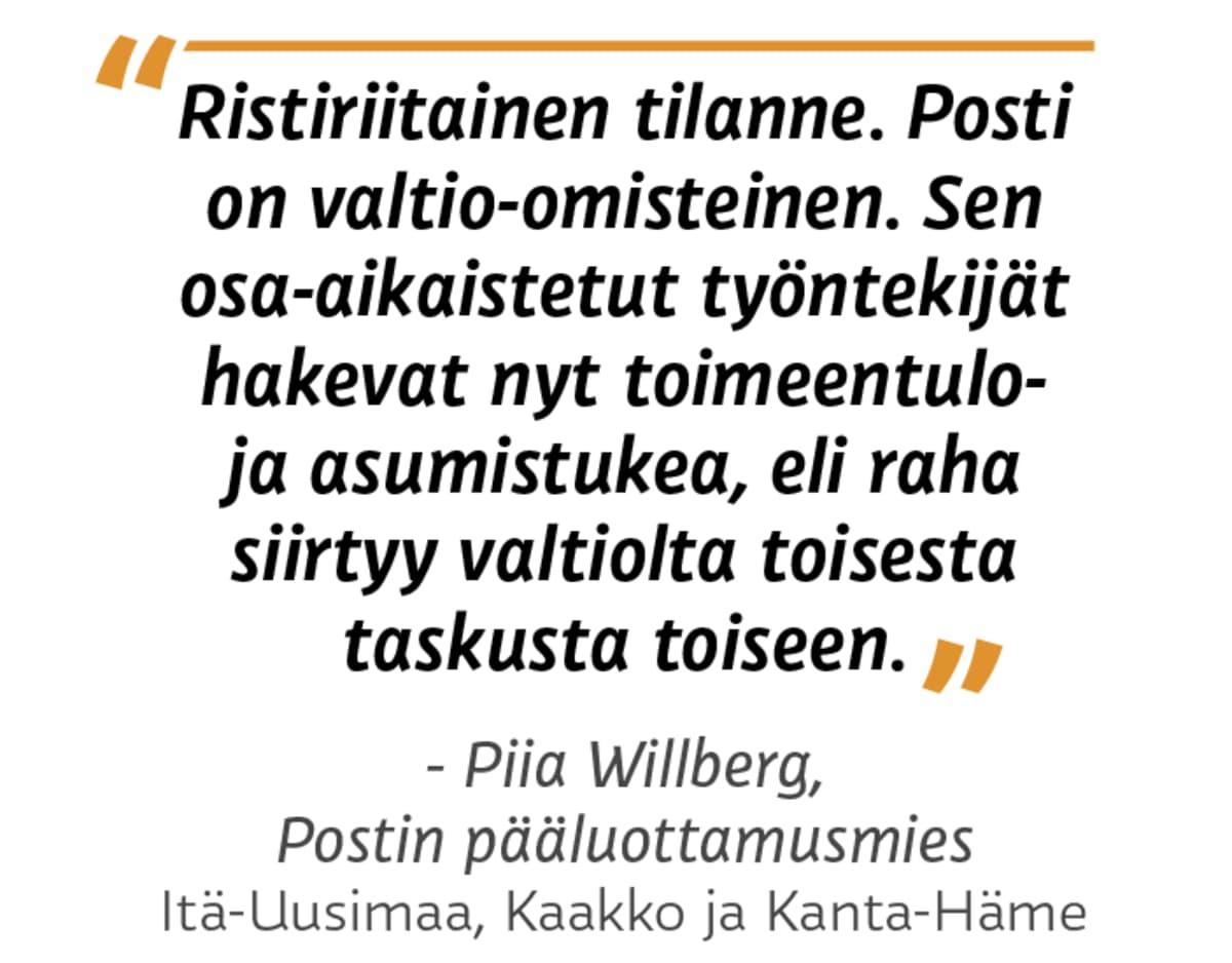 """""""Ristiriitainen tilanne. Posti on valtio-omisteinen. Sen osa-aikaistetut työntekijät hakevat nyt toimeentulo- ja asumistukea, eli raha siirtyy valtiolta toisesta taskusta toiseen."""" Piia Willberg, pääluottamusmies Itä-Uusimaa, Kaakko ja Kanta-Häme."""