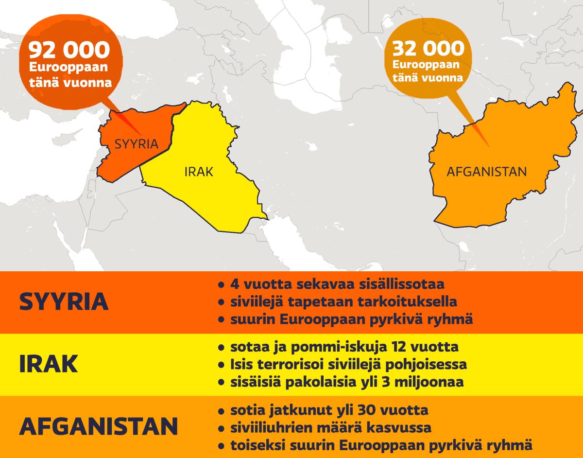 Karttagrafiikassa pakolaismääriä Lähi-Idässä