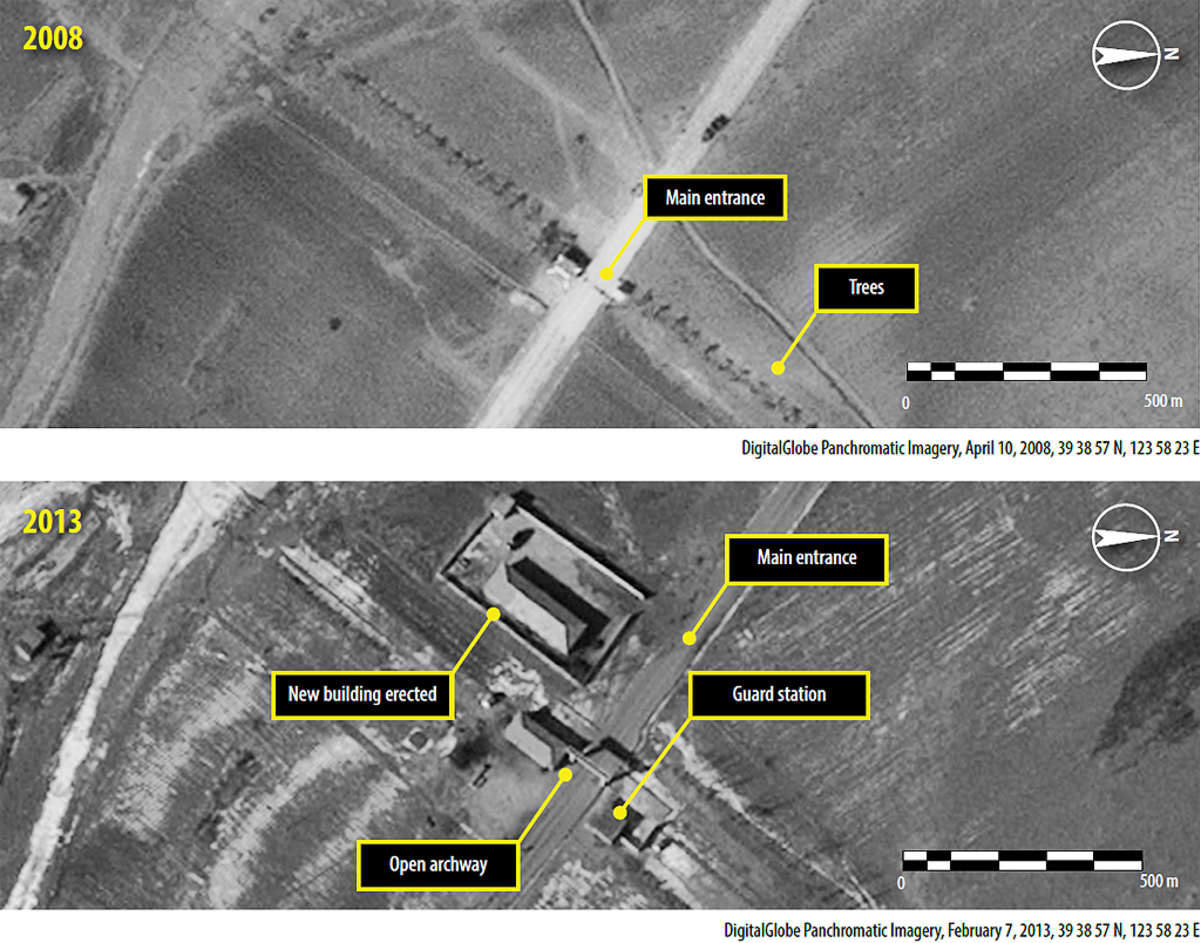 Kaksi satelliittikuvaa Ch'oma-Bongin laaksosta läheltä vankileiri numero 14:ä keskisessä Pohjois-Koreassa.