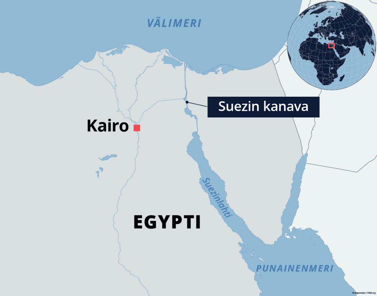 Kartta Suezin kanavasta Egyptissä.