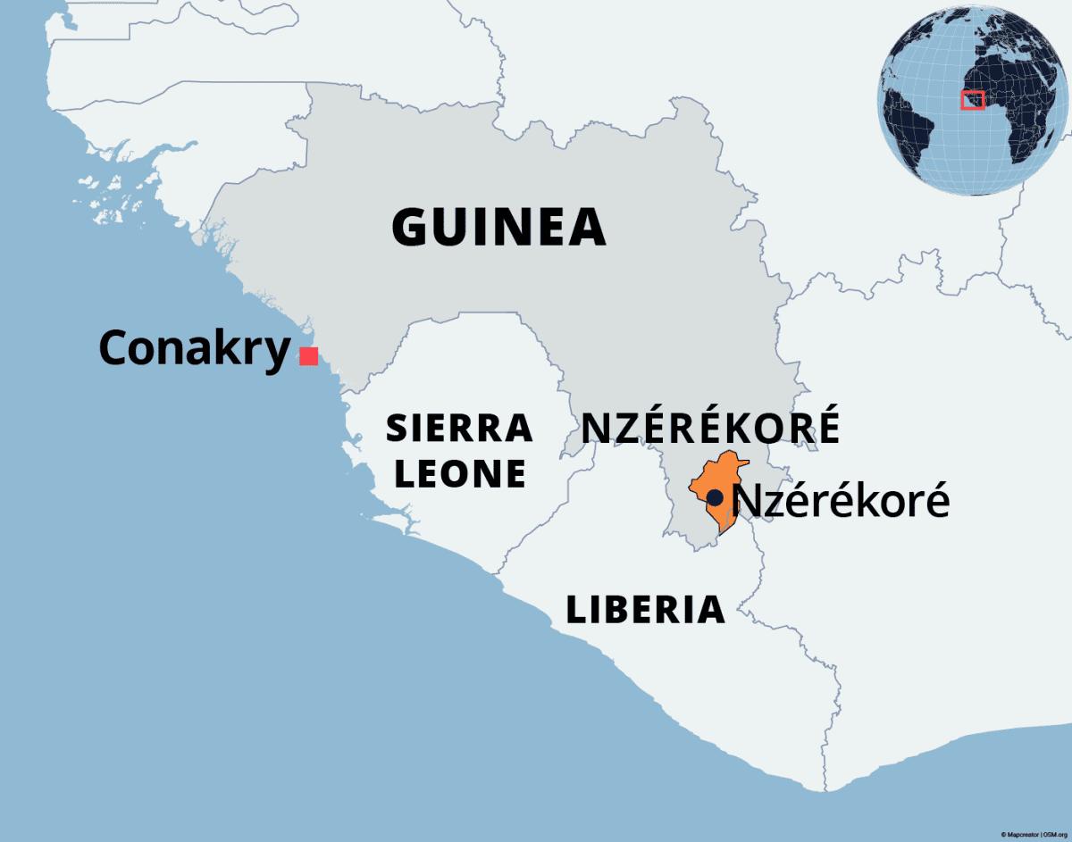 Ebola-alue Nzérékoressa Guineassa on merkitty karttaan oranssilla.