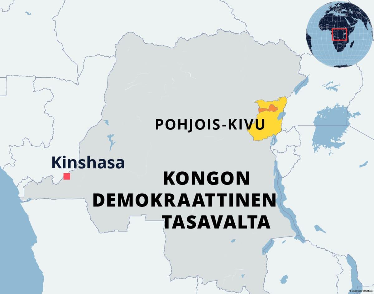 Ebolan levinneisyys Kongon demokraattisessa tasavallassa.