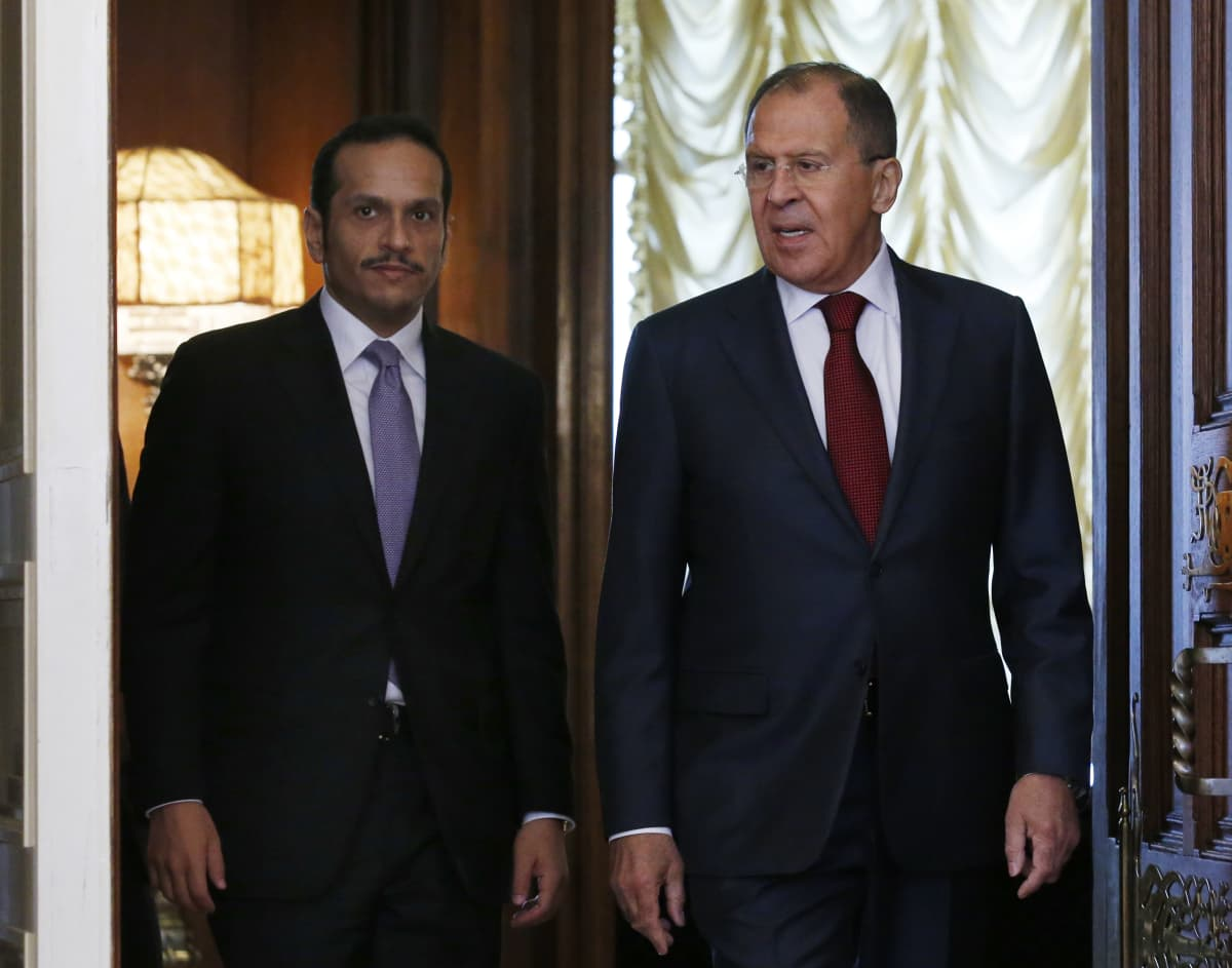 Venäjän ulkoministeri Sergei Lavrov Qatarin ulkoministeri Sheikh Mohammed Al Thani