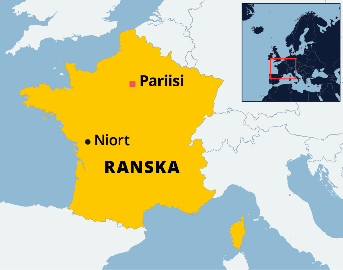 Kartta Niortin kaupungin sijainnista Ranskassa.
