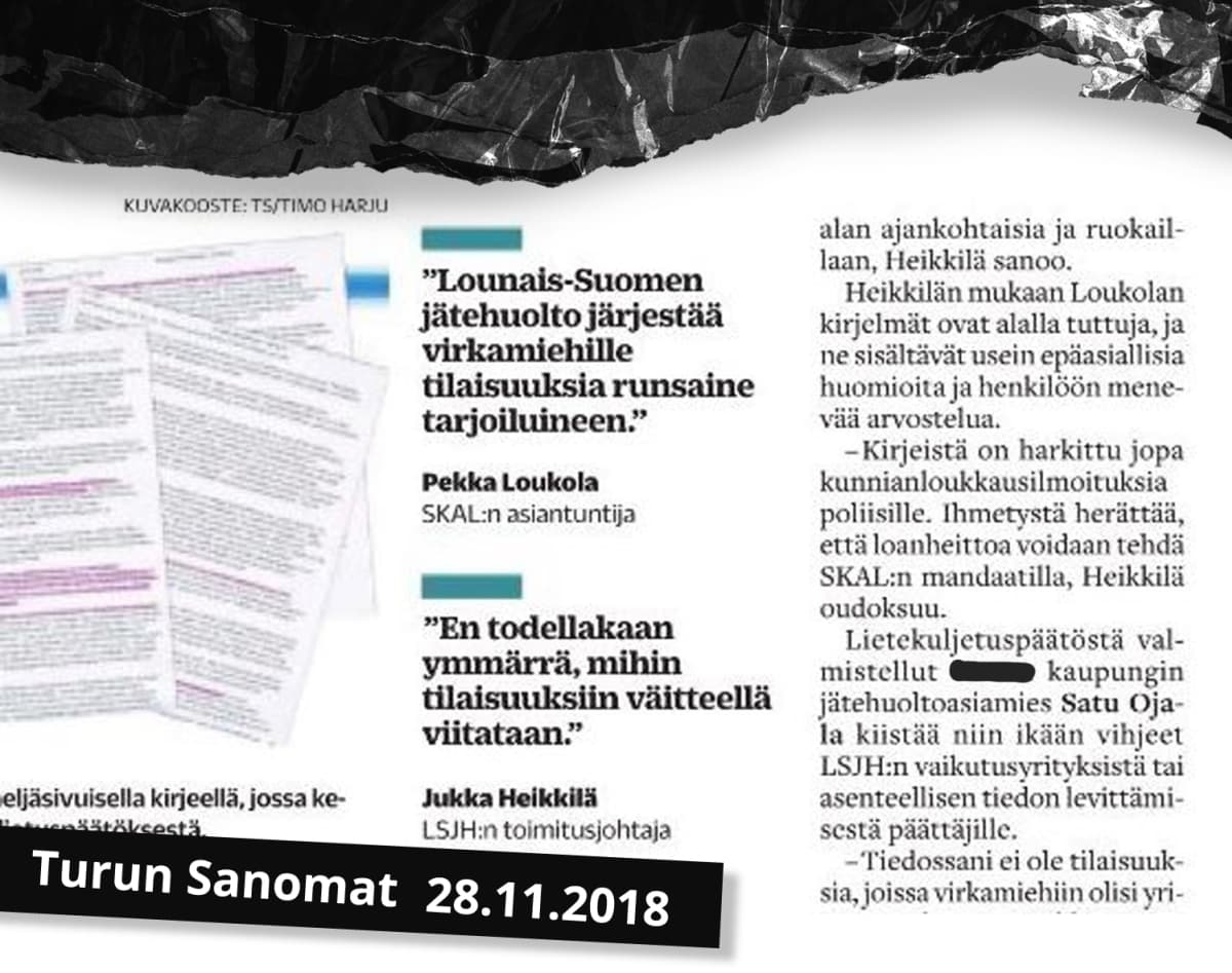Kollaasi kuva Turun Sanomien mielipidepalstalta