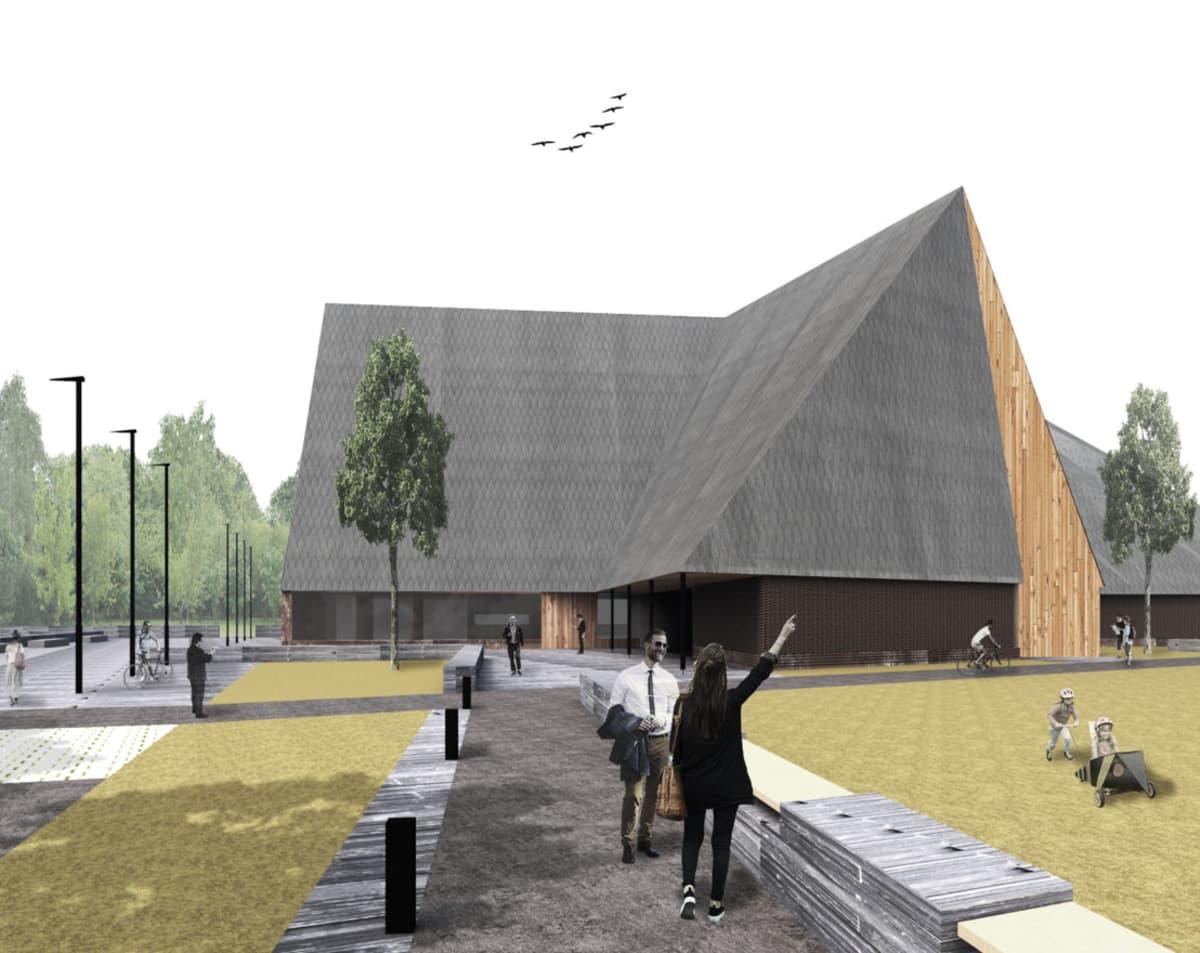 Trias-niminen ehdotus Ylivieskan uudeksi kirkoksi.