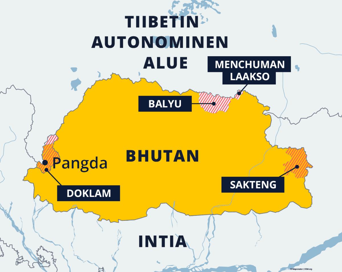 Bhutanin kartta kiistellyistä alueista