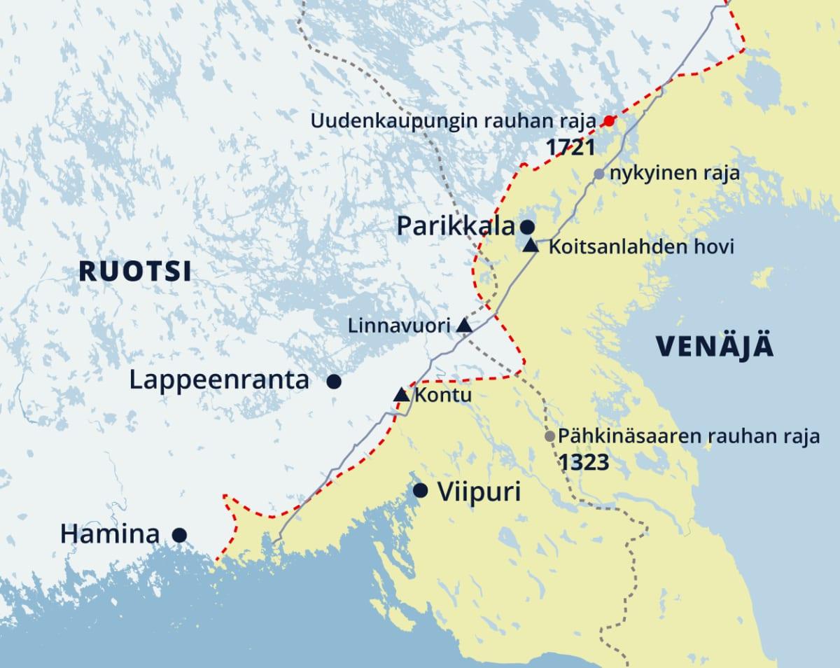 Kartta Kaakkois-Suomessa kulkeneista Uudenkaupungin rauhan ja Pähkinäsaaren rauhan rajoista.