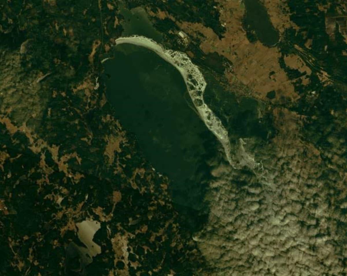 Satelliittikuva, jossa näkyy Säkylän pyhäjärvi ja siellä oleva jäävyö 14.2.2020.