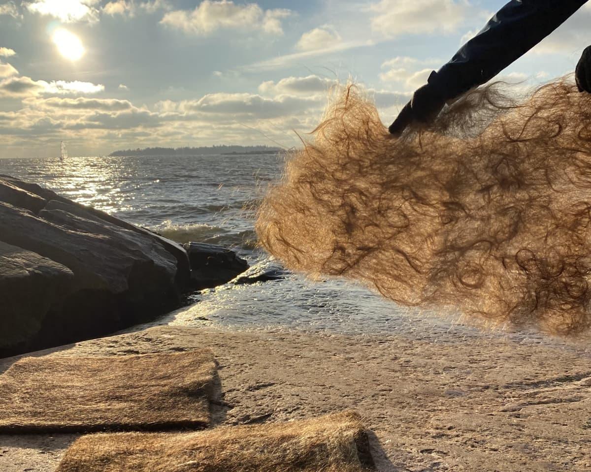 Hiuskuitumattoja auringossa kalliolla kimmeltävän veden äärellä