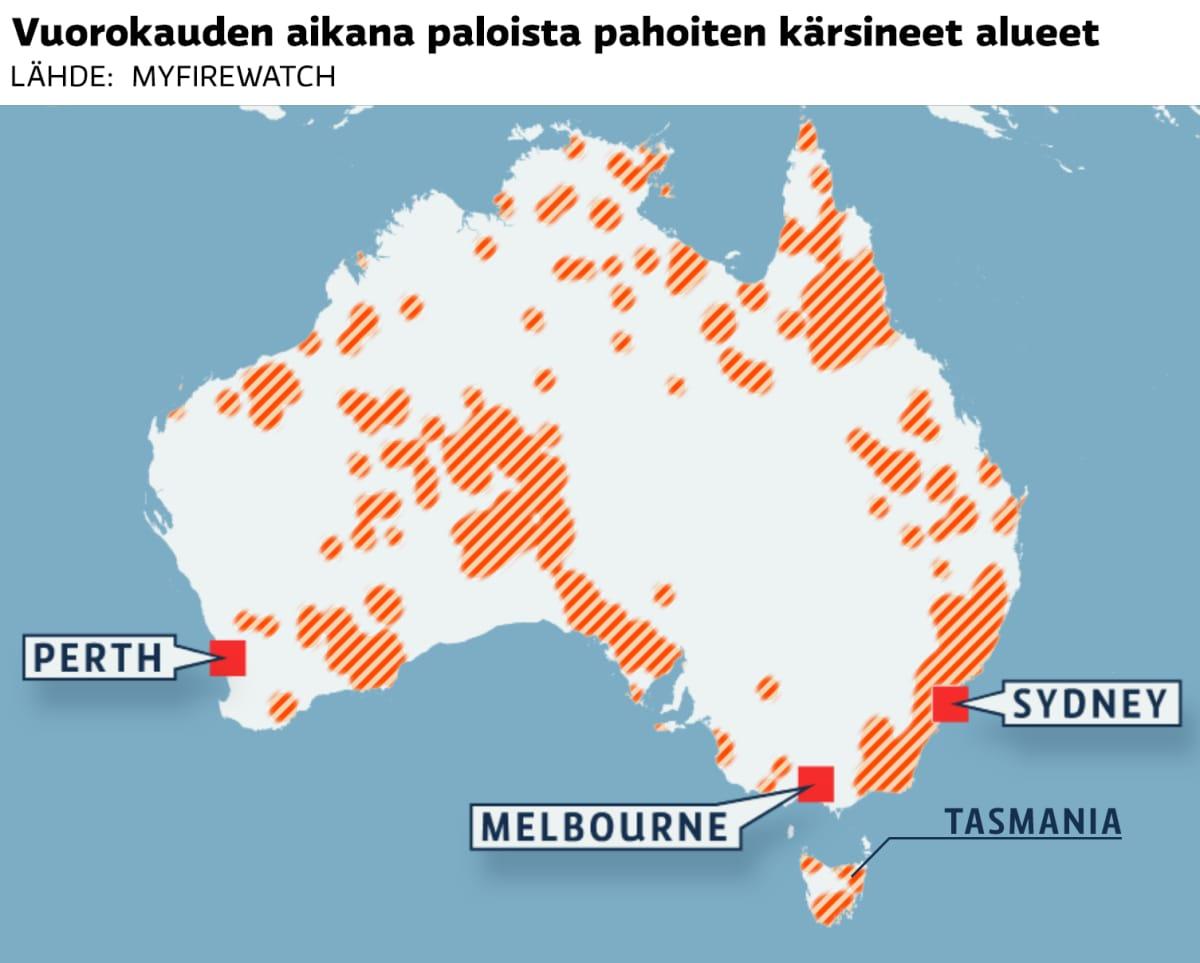 Australian kartalle merkittyjä maastopaloja.