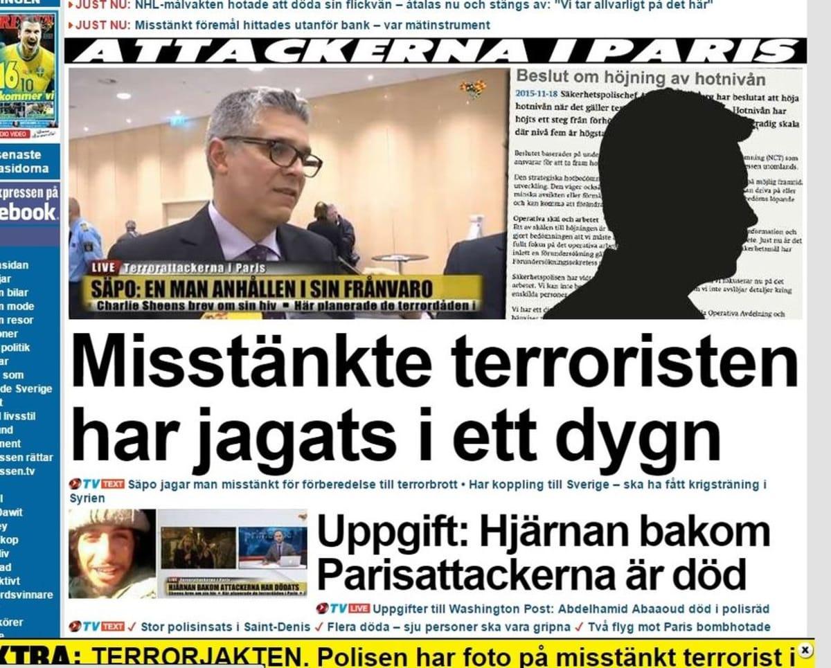 Kuvakaappaus Expressen-lehden kotisivulta.
