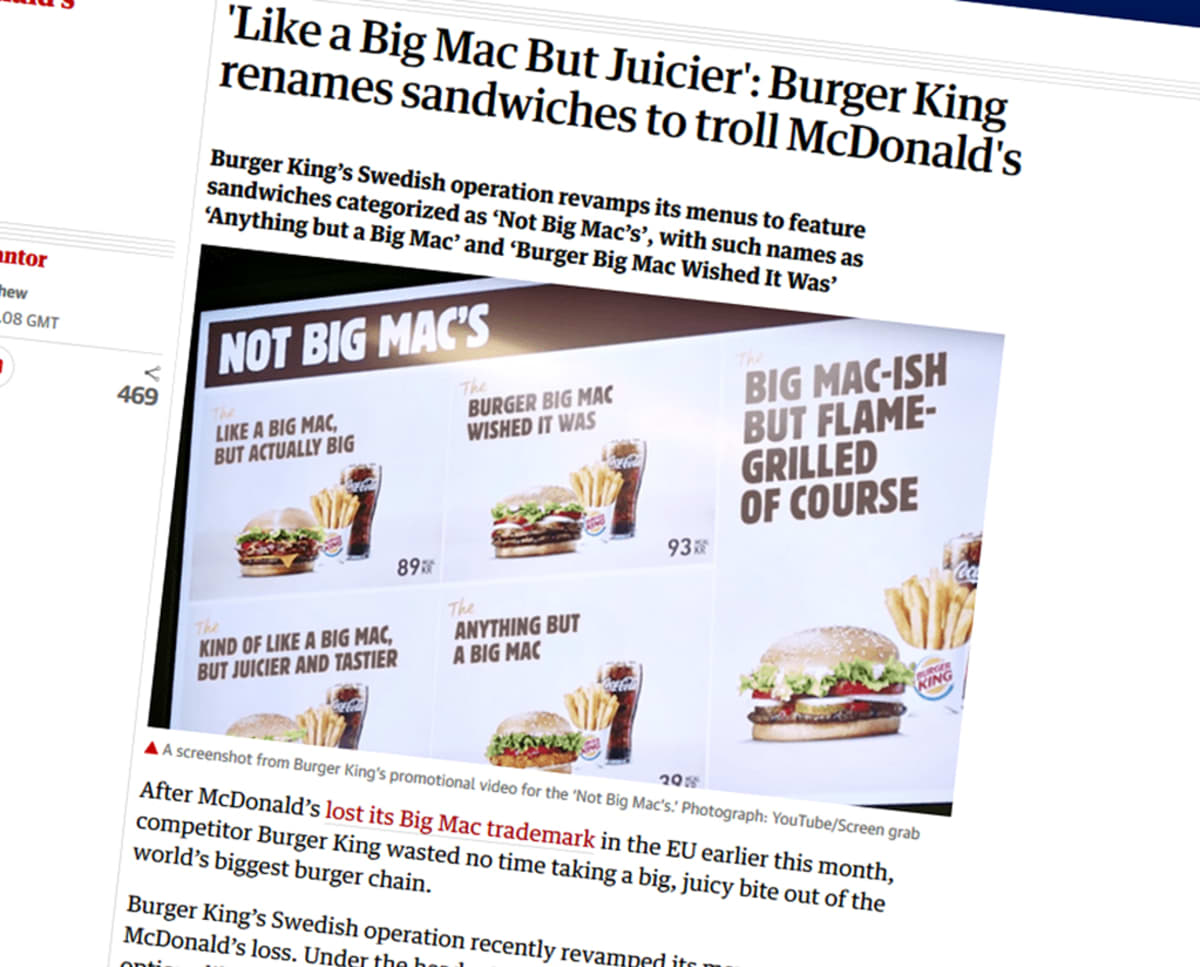 Burger Kingin mainostaulu.