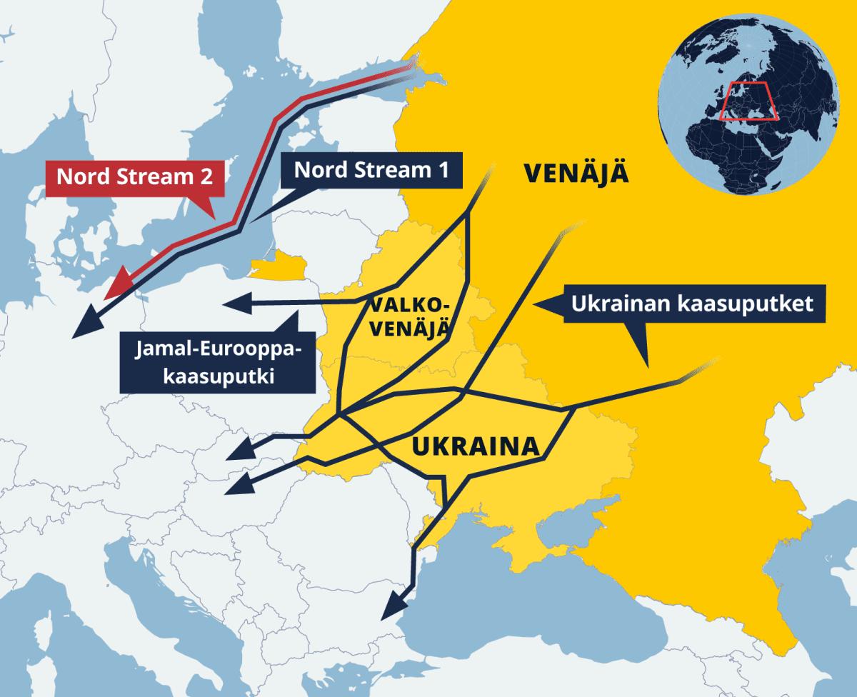 Kaasuputkien kartta Euroopasta.