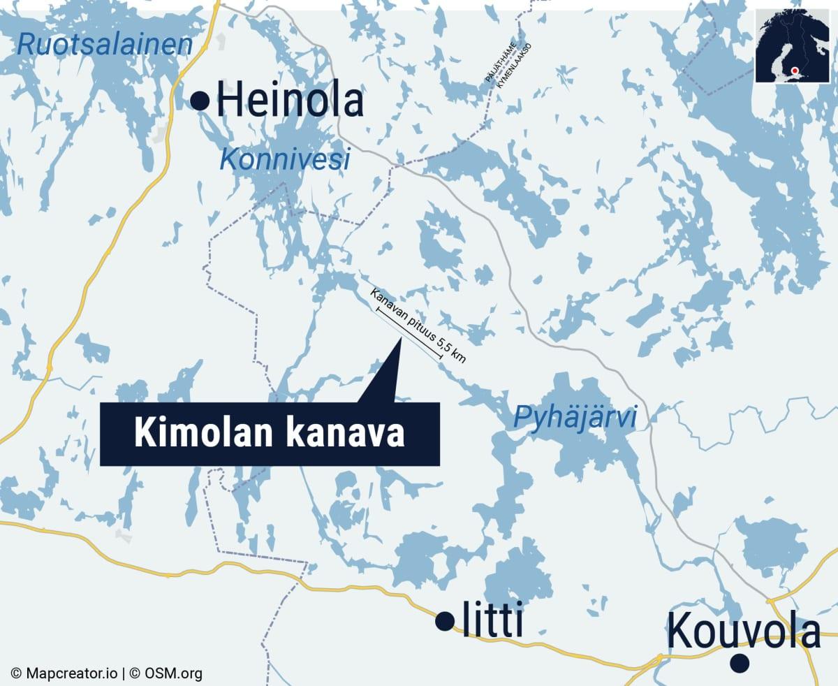 Kimolan kanava kartalla