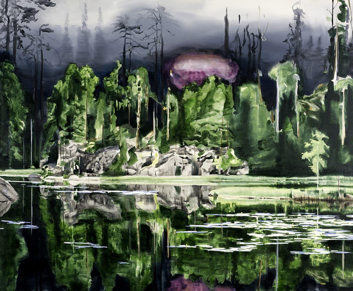 metsä ja kallio järvenrannalla